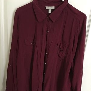 Maroon shirt oversized